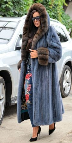 NEW ROYAL SAGA MINK RUSSIAN SABLE LONG FUR COAT HOOD CLAS CHINCHILLA FOX SWINGER