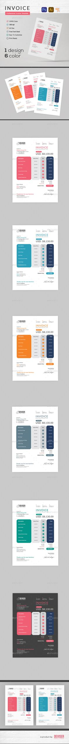 business invoice templates | illustrators, photoshop and invoice, Invoice examples