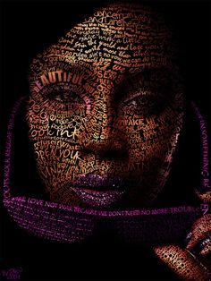 Portrait of woman with words inscribed inside the profile make a strong appeal against war