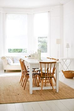 Style Recipe: Mix IKEA & Vintage for the Perfect Dining Room (NOTE: vintage chairs, IKEA NORDEN table painted white)