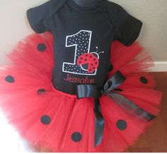 Personalized Ladybug Birthday Tutu Set by TheTinyCloset on Etsy