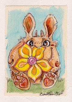 ORIGINAL ART - Puff Monster w/ Flower by Bianca Roman-Stumpff, original painting mounted on 5X7 board