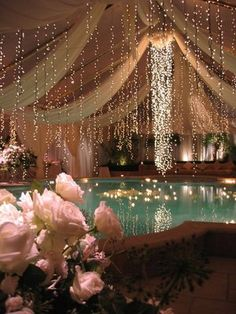 Yeah, gotta get floating candles in the pool . Party Decoration, Reception Decorations, Event Decor, Desi Wedding, Wedding Day, Pool Wedding, Sparkle Wedding, Wedding Dreams, Wedding Tips