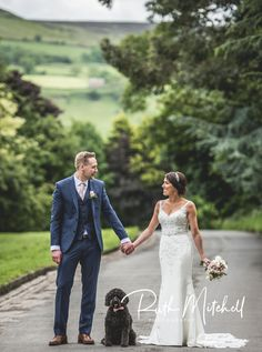 Bride and groom with dog in bow tie at wedding. Yorkshire Wedding Photographer, North Yorkshire, Durham, Groom, Bow, Weddings, Bride, Wedding Dresses, Fashion