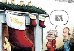 Democratic Christmas, Nate Beeler,The Columbus Dispatch,hillary clinton, bernie sanders, martin omalley, christmas, holiday, stocking, democrats, democratic, party, candidate, nomination, politics, 2016, election, president, presidential