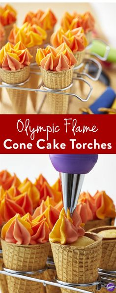Easy DIY Olympic Flame Cone Cake Torches - Start off your Summer Games viewing party with these Olympic Flame Cone Cake Torches. Use the Cupcake Cone Baking Rack to bake your cake within the sugar cones, then decorate your cones with Color Mist food color spray and colorful icing made to look like flames.
