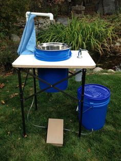 Save $10 - Buy the Deluxe Camp Sink and Deluxe Tent Shower Combo. Make your outdoor experience more clean and comfortable with this useful sink that provides running water and a soap dispenser just li