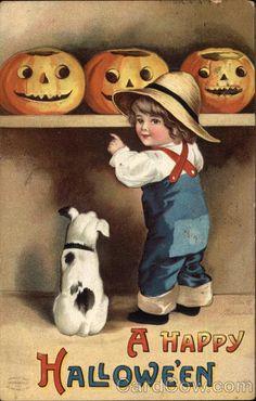 ❤ Vintage Greeting Card Art Poster Print! ☮~ღ~*~*✿⊱╮ レ o √ 乇 !! - Children by Ellen Clapsaddle - Halloween