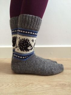 Perfect gift for the boys! natural wool socks featuring hedgehogs and blue colourwork pattern. If you have any questions please do not hesitate to contact me. Fair Isle Knitting Patterns, Knitting Machine Patterns, Knitting Ideas, Wool Socks, Knitting Socks, Knit Stockings, Tight Leggings, Handmade Clothes, Winter Wear
