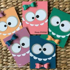Ideas Birthday Crafts For Kids To Make Simple Kids Birthday Cards, Birthday Crafts, Handmade Birthday Cards, Birthday Ideas, Birthday Images, 30th Birthday, Birthday Cake, Monster Cards, Diy Invitations