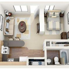 Planta baixa 3D de casa pequena com ambientes conjugados.