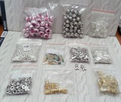 BEADS FINDINGS BUNDLES beads teddy charms gold rings bows bracelet connectors
