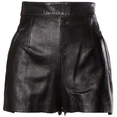 Pre-owned Moschino Vintage Black Leather High Waisted Shorts ($650) ❤ liked on Polyvore featuring shorts, skirts, bottoms, leather, side zip shorts, black high waisted shorts, high-waisted shorts, highwaist shorts and moschino