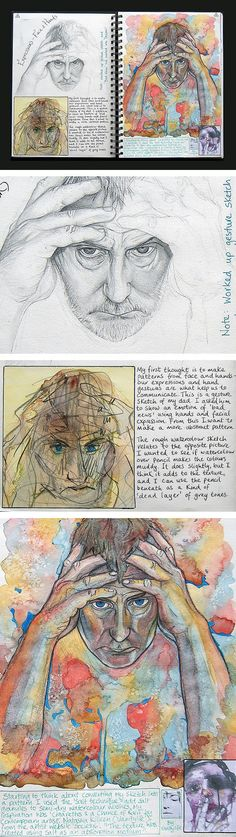 Project identity sketchbook page - A Level student (UK) sketchbook and final painting / compares to a concentration for AP Art a level Top in the World: Stunning Self-Portraits by an A Level Art Student Sketchbook Layout, A Level Art Sketchbook, Sketchbook Pages, Sketchbook Inspiration, Sketchbook Ideas, Sketchbook Drawings, Kunst Portfolio, Bd Art, Ap Studio Art