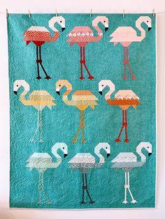 Florence Flamingo Quilt Kit- Peacock Background- Pond Fabric- Elizabeth Hartman- Robert Kaufman