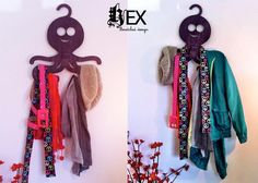 Hex : Gancho Pulpo (ropa, joyeria, cinturones, corbatas) - Kichink! Hangers, Dream Catcher, Design, Home Decor, Style, Fashion, Ties, Clothing, Octopus