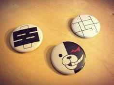 Dangan Ronpa Monobear Monokuma and Junko Enoshima Cosplay Buttons - Full Set (3) - $3.50