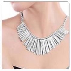 """Fringe Tassel Necklace Eye catching fringe necklace. Necklace 20.5""""L, the bar with 'fringe' is 6""""L. The 'fringe' length shortest (ends of bar) 1""""L to longest (middle of bar) ~ 1.75""""L. This Stylish Fringe Necklace Is On Trend & Is Currently A Hot Item! No Trades. Boutique Jewelry Necklaces"""