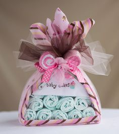 """The """"Baby Cakes"""" Diaper Bundle. Baby Shower Centerpiece or Gift. on Etsy, $30.00"""