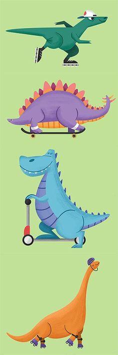Skating Dino's #dinos #dinosaurs #skates #skating #skateboard #rollerskates…