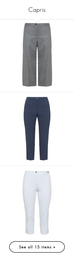 """""""Capris"""" by wanda-india-acosta ❤ liked on Polyvore featuring pants, capris, grey, plus size, plus size crop pants, plus size pants, high-waisted pants, wide-leg pants, plus size wide leg pants and blue"""
