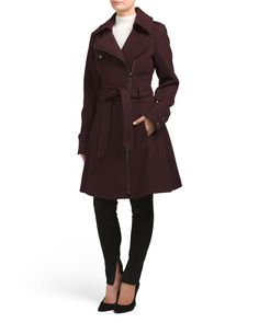 Wool+Blend+Asymmetrical+Coat