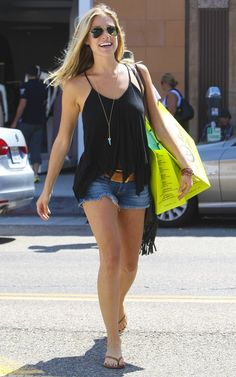 Ray-Ban Aviator sunglasses Siwy Camilla Cut Off Denim Shorts in Wonder Tkees Foundation Collection Leather Sandal in Sun Kissed Siwy Denim Camilla Short in Come Away with Me Soixante Neuf Petite Turquoise Horn Necklace