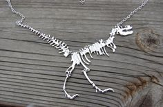 Silver Dinosaur Necklace Extinct Ancient Jurassic by AbsintheArts