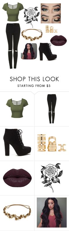 """""""poison ivy inspired outfit 1"""" by jocelynpm ❤ liked on Polyvore featuring LE3NO, Topshop, Forever 21, Winky Lux and Jennifer Behr"""