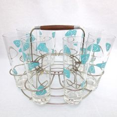 VINTAGE 1950's MID CENTURY ATOMIC 8 TALL DRINKING GLASS COCKTAIL BAR SET W/CADDY