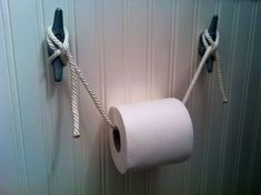 Toilet paper holder for a nautical bathroom. Nautical Bathrooms, Beach Bathrooms, Ocean Bathroom, Pirate Bathroom Decor, Mermaid Bathroom, Small Bathroom, Deco Pirate, Nautical Home, Nautical Mirror