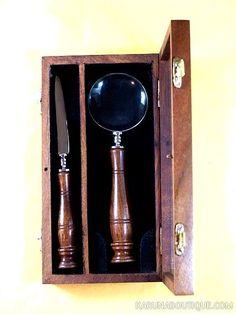 Coffret loupe et ouvre-lettre en bois de sesham - Artisanat équitable.