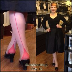12 Days of Stockings Giveaway! Day 12: Katie adds a splash of colour to her sophisticated little black outfit with Nude/ Red Retro Seamed Stockings (note even her nails match the stockings!) All you need to do to enter is retweet, share, regram or pin our daily stocking images using #wkdstockings Each day we're posting an image showing you how the What Katie Did team wears our stockings! Winners will be announced on What Katie Did Blog.