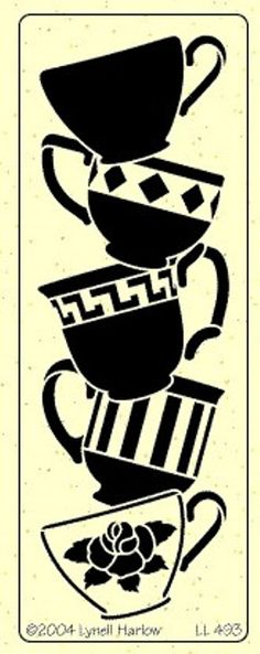 Idea for the applique on the apron, different designs to match the ride though on the cups themselves Mais Stencils, Stencil Templates, Stencil Art, Stencil Designs, Stencil Patterns, Quilt Patterns, Tea Cup Art, Coffee Art, Paper Cutting