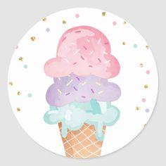 Shop Lemon Wedding Envelope Seal Summer Sticker Citrus created by Anietillustration. Ice Cream Theme, Ice Cream Party, Ice Cream Cone Drawing, Wedding Envelopes, Candy Party, Candyland, Round Stickers, Birthday Party Decorations, First Birthdays