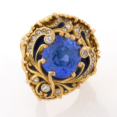 Marcus & Company Blue Sapphire,Old European Diamond and Enamel Ring, c. 1900s