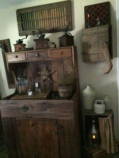 Prims of my home Primitive Cabinets, Primitive Furniture, Primitive Antiques, Country Primitive, Primitive Decor, Antique Furniture, Prim Decor, Country Decor, Farmhouse Decor