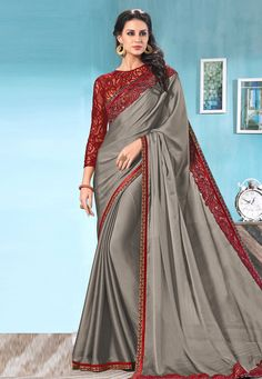 Buy Gray Chiffon Saree With Blouse 203760 with blouse online at lowest price from vast collection of sarees at Indianclothstore.com. Chiffon Saree, Blouse Online, Grey, Stuff To Buy, Collection, Ash, Gray, Repose Gray