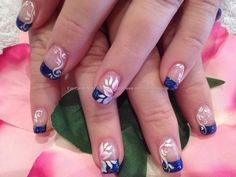 Dark blue French manicure tips with free hand one stroke technique white & pink flowers floral nail art