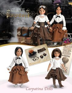 "Camden Steampunk Outfit for 18"" Slim Dolls - also available in a size to fit American girl dolls"