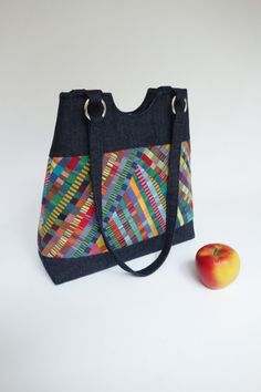 Small tote bag / denim and thin colorful stripes patchwork.