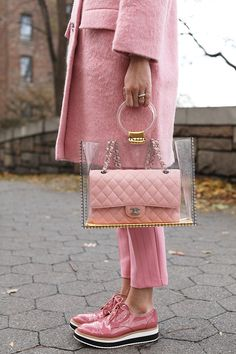 daily dress me Pretty in Pink. pink sneakers, pink coat and pants. Visit Daily Dress Me at for more inspiration women's fashion fall fashion, winter fashion, Pink Fashion, Fashion Bags, Trendy Fashion, Womens Fashion, Fashion Trends, Fashion 2018, Fashion Shoes, Fashion Outfits, Chanel Fashion