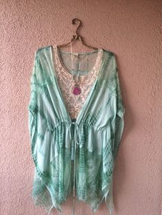 Image of SALE!!!  $45 Designed with Aloha...Mint ombre crochet drawstring with fringe beach zen yoga kimono