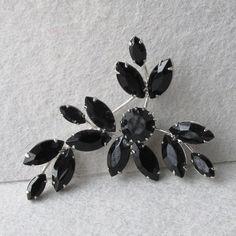 1960's Vintage ALL Black Rhinestone Silver Tone Flower Spray Pin