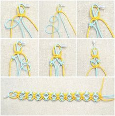 In this simple DIY jewelry tutorial, you will learn how to knit a friendship bracelet with lark knots. This idea is just a simple way to DIY friendship bracelet - DIY Schmuck für den Sommer Bracelet Fil, Bracelet Crafts, Jewelry Crafts, Hemp Jewelry, Diy Jewellery, Recycled Jewelry, Macrame Jewelry, Antique Jewellery, Diy Bracelets Easy