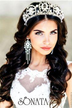 """Купить Свадебная тиара""""Екатерина"""" - белый, для прически неветы, аксессуар для невесты, для прически невесты, свадьба"""