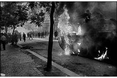 PRAGUE INVASION, 1968 - Much of the resistance was centered around the Prague radio station. As the day progressed, Czechoslovak youths threw home-made missiles and even tried to take on Soviet tanks. ~ (Photo by Josef Koudelka. White Photography, Street Photography, Prague Spring, Art Et Nature, Great Society, Prague City, Visit Prague, Guernica, Old Paintings