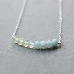 calliope - silver and light green necklace by elephantine.