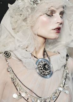 Magdalena Frackowaik walks in John Galliano Couture, make-up by Pat McGrath, Paris fashion week, Doll Makeup, Costume Makeup, John Galliano, Ghost Makeup, Snow Makeup, Ice Makeup, Hair Makeup, Pat Mcgrath Makeup, The Wicked The Divine