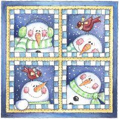 Quadro de Bonecos de Neve